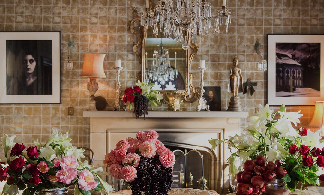 Decadent living room interior adorned with flowers