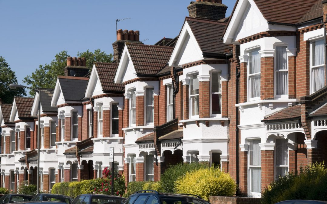 Typical Victorian terraced row of houses in Britain