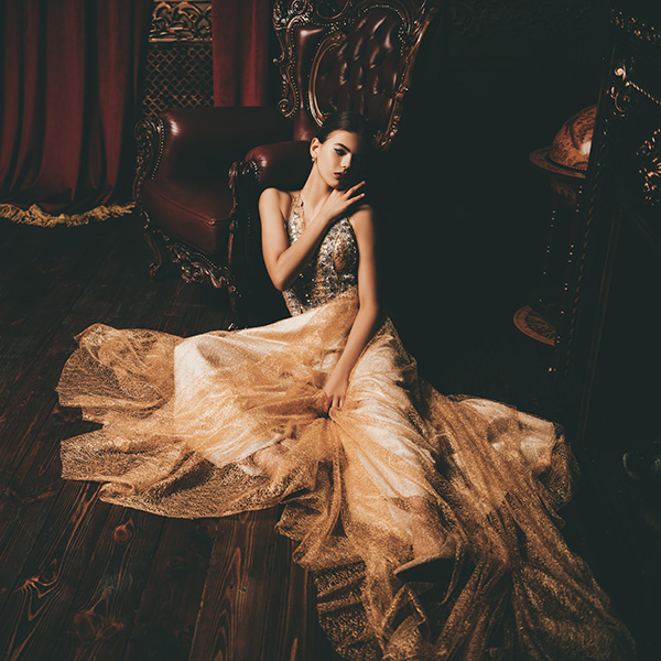 model in haute couture dress