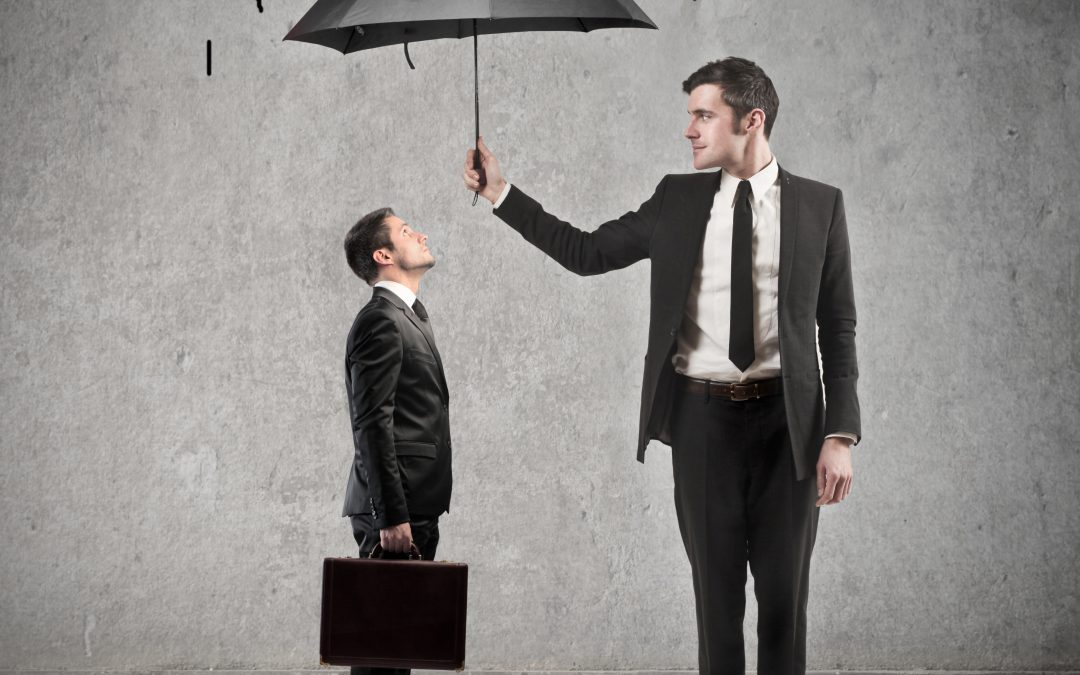 Business man holding umbrella over a smaller business man protecting him from hand drawn rain clouds